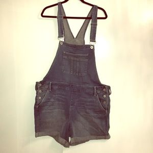Plus size overall shorts.
